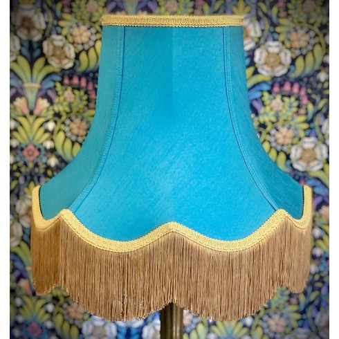 Azure Teal Blue and Gold Fabric Lampshades