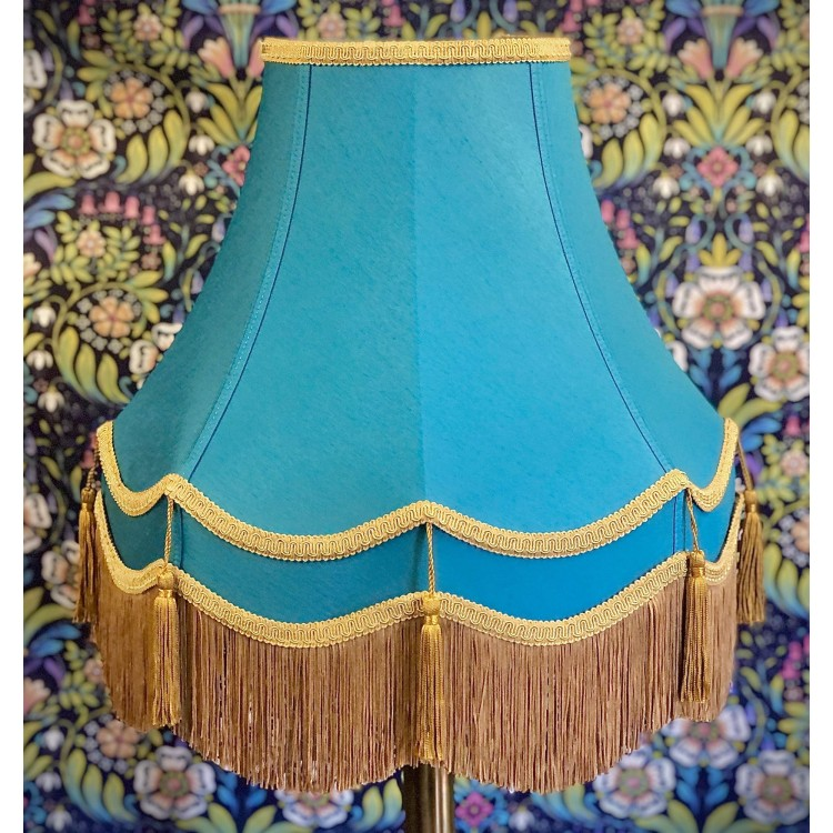 Azure Teal Blue and Gold Double Fabric Lampshades