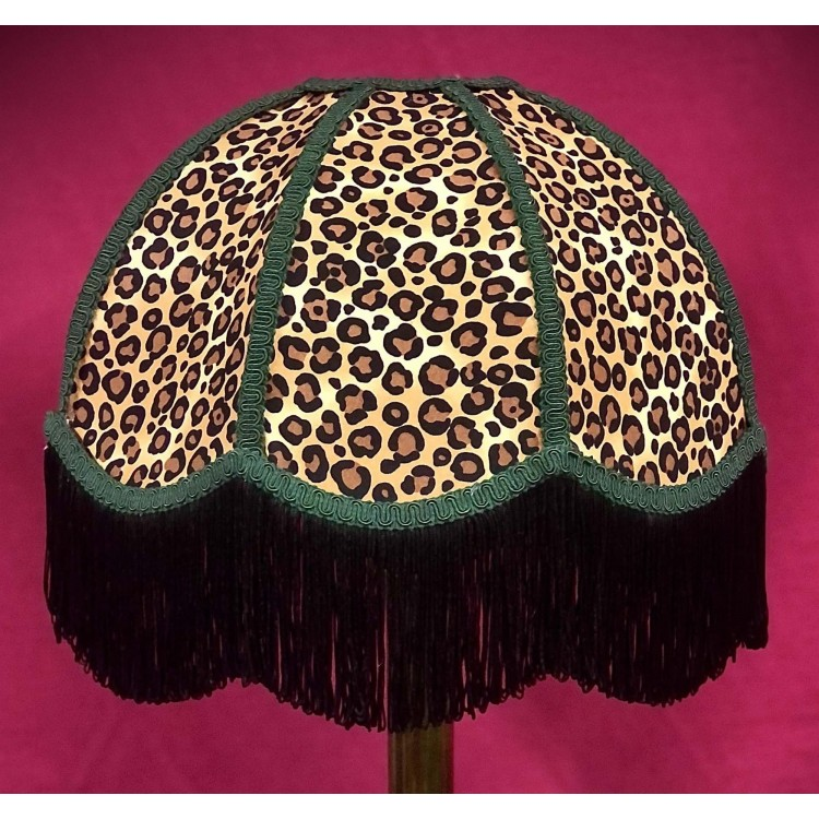Beige Leopard Animal Print and Holly Green Dome Fabric Lampshades
