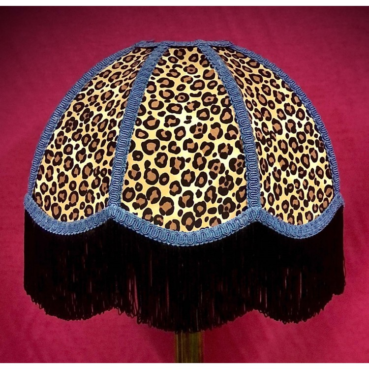 Beige Leopard Animal Print and Slate Blue Dome Fabric Lampshades