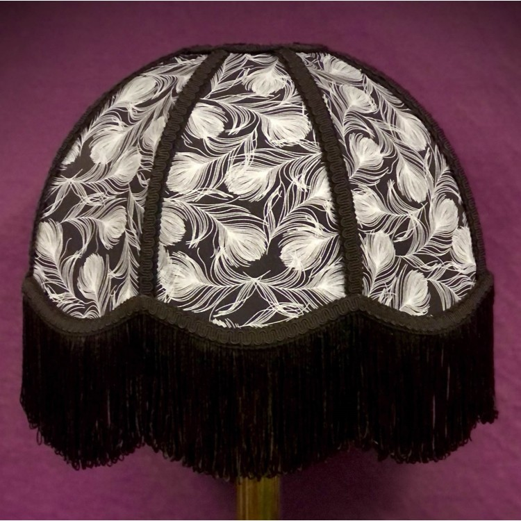 Grey Feather and Black Dome Fabric Lampshades