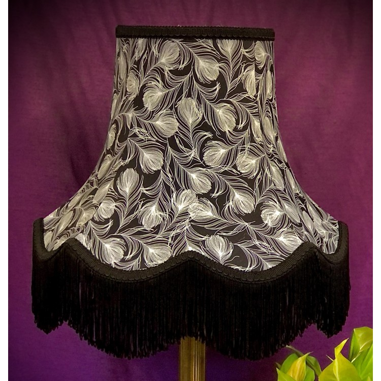 Grey Feather Print Fabric Lampshade