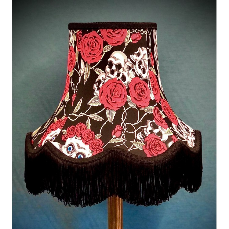 Gothic Skulls and Roses Black Fabric Lampshades