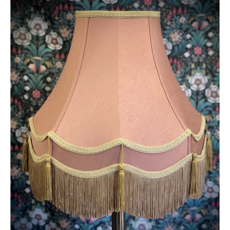Blush Pink and Gold Double Fabric Lampshades