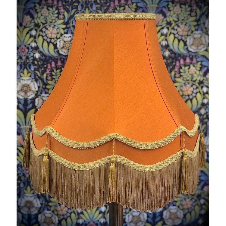 Burnt Orange and Gold Double Fabric Lampshades