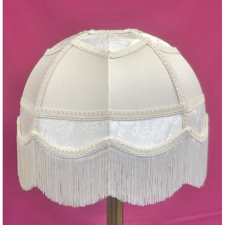 Ivory Paisley and Cream Panelled Fabric Lampshade