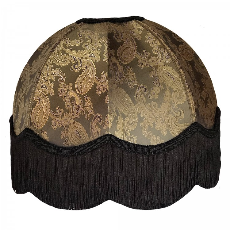 Paisley Dark Bronze and Black Dome Fabric Lampshades