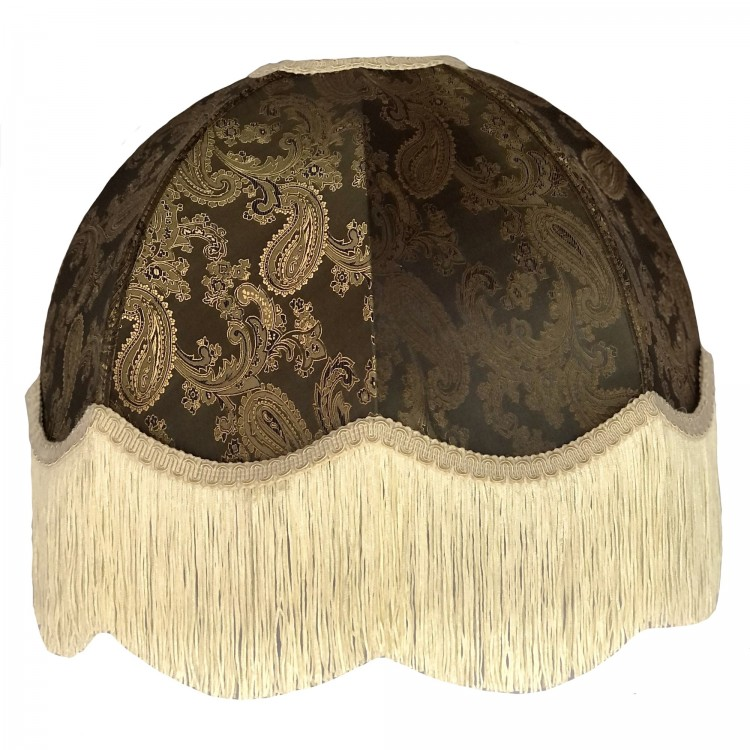 Paisley Jacquard Dark Bronze and Cream Dome Fabric Lampshades