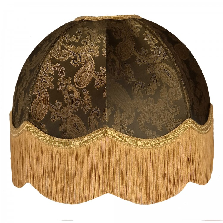 Paisley Dark Bronze and Gold Dome Fabric Lampshades