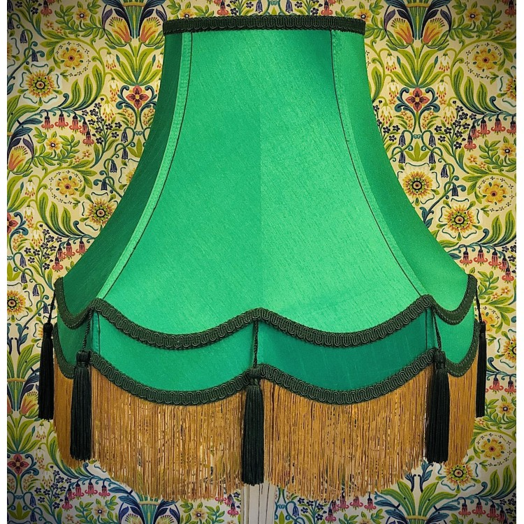 Emerald Green and Gold Double Fabric Lampshade