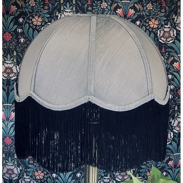 Flint Grey and Black Dome Fabric Lampshade