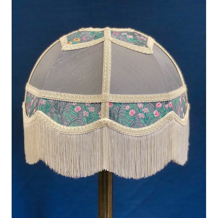 Flint Grey Floral Panelled Fabric Lampshade