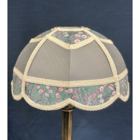 Flint Grey Floral Panelled Modern Fabric Lampshade