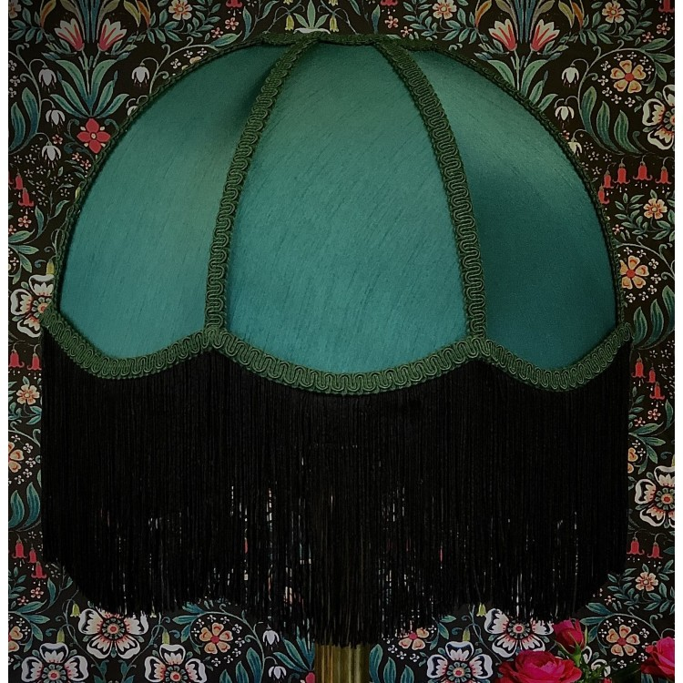 Forest Green and Black Dome Fabric Lampshade