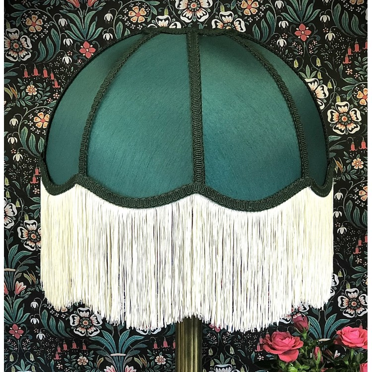 Forest Green Dome Fabric Lampshade