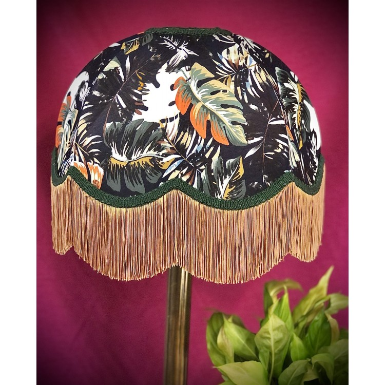 Forest Green Botanical Leaf Dome Fabric Lampshade