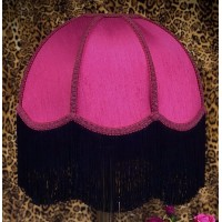 Fuchsia Pink and Black Dome Fabric Lampshade