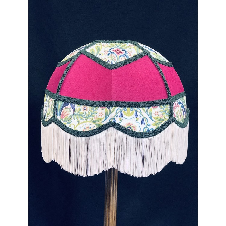 Fuchsia Pink and William Morris Panelled Fabric Lampshade