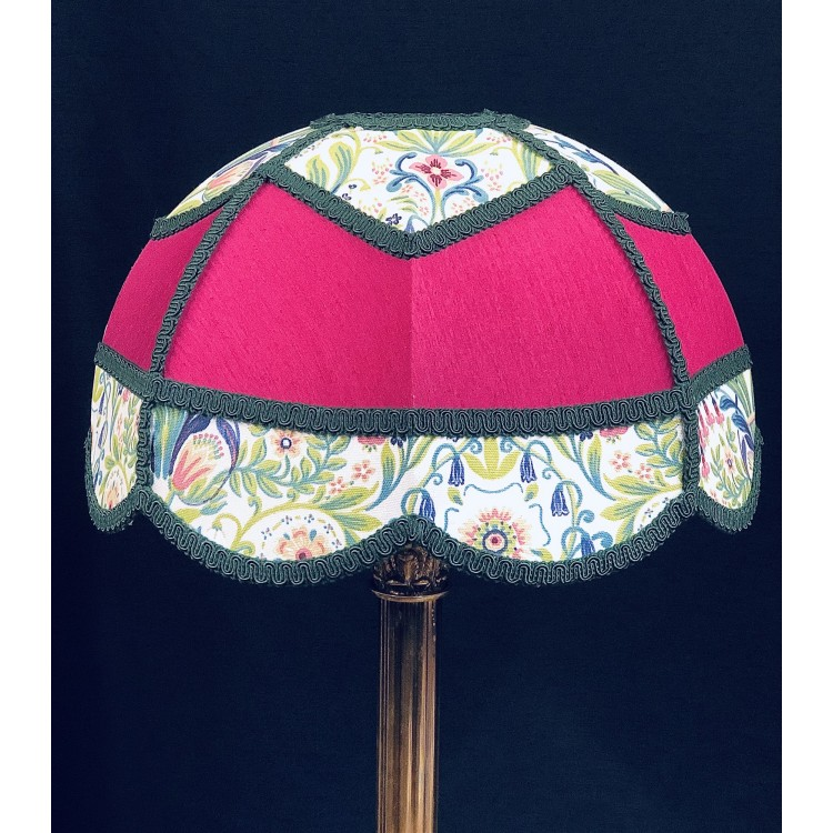 Fuchsia Pink and William Morris Panelled Modern Fabric Lampshade