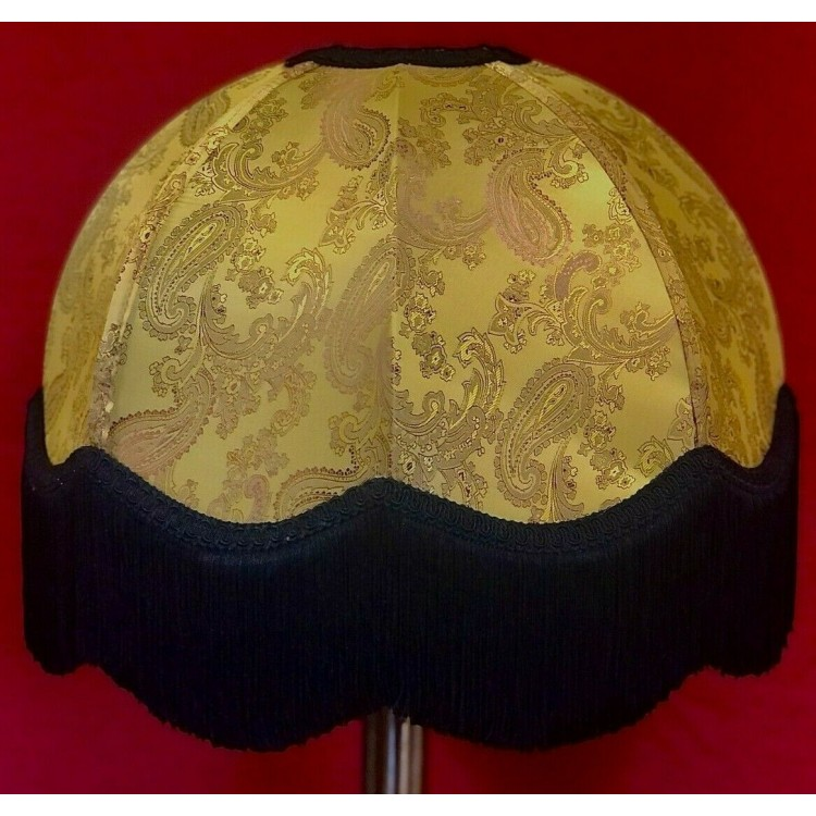 Paisley Gold and Black Dome Fabric Lampshades