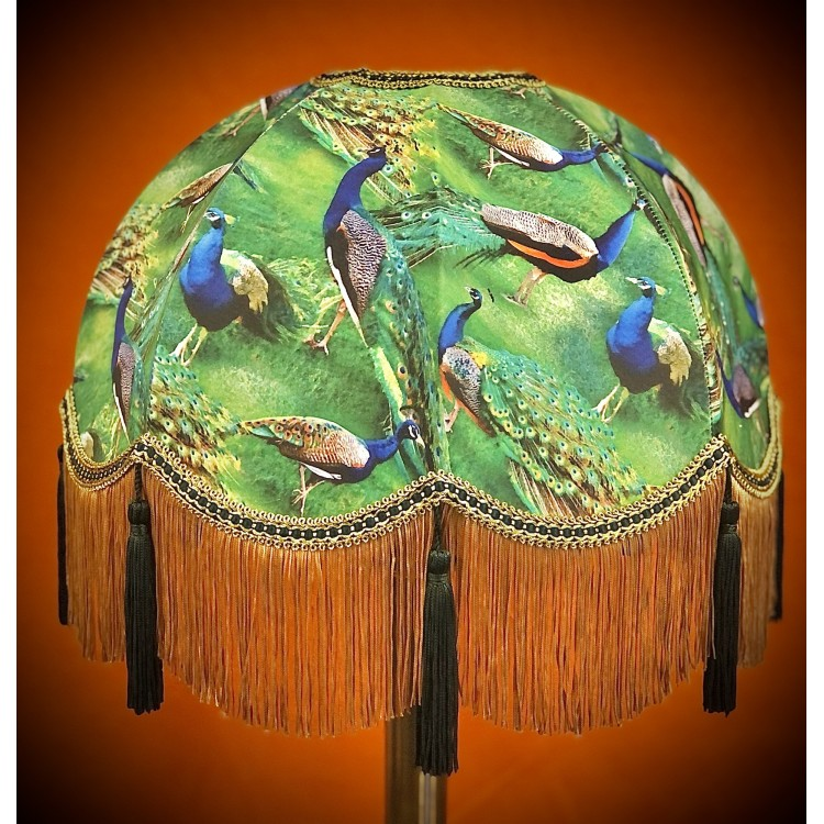 Green Peacock Dome Fabric Lampshade