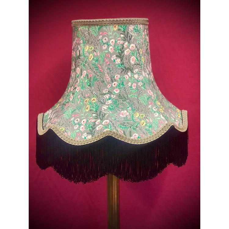 Grey and Black Floral Fabric Lampshades