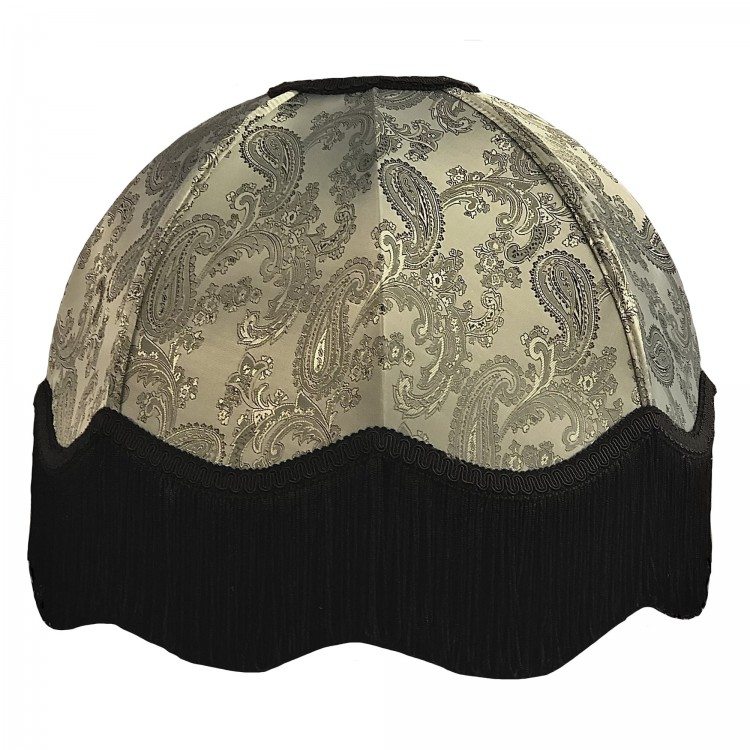 Paisley Jacquard Grey and Black Dome Fabric Lampshades