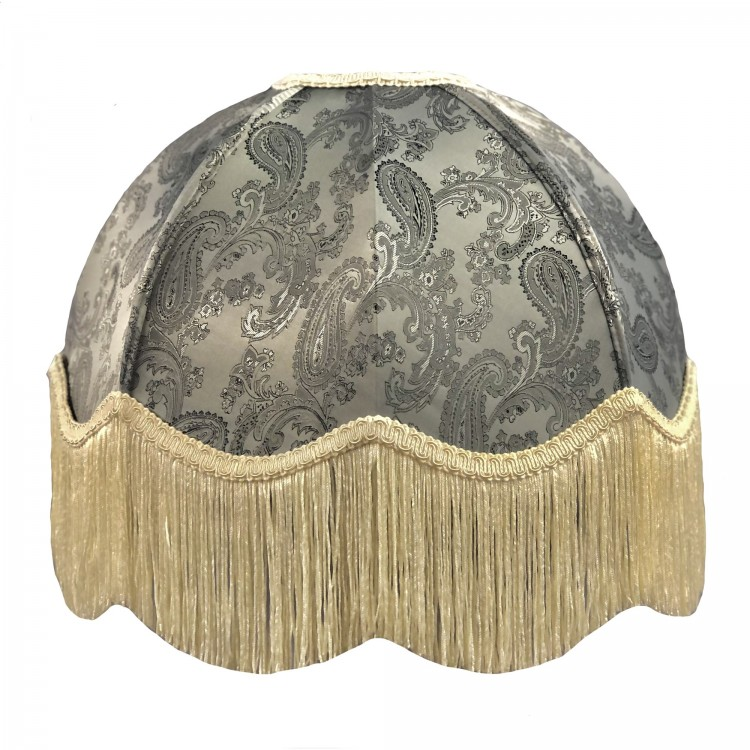 Paisley Grey and Cream Dome Fabric Lampshades