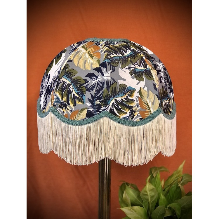 Grey and Teal Botanical Leaf Dome Fabric Lampshade
