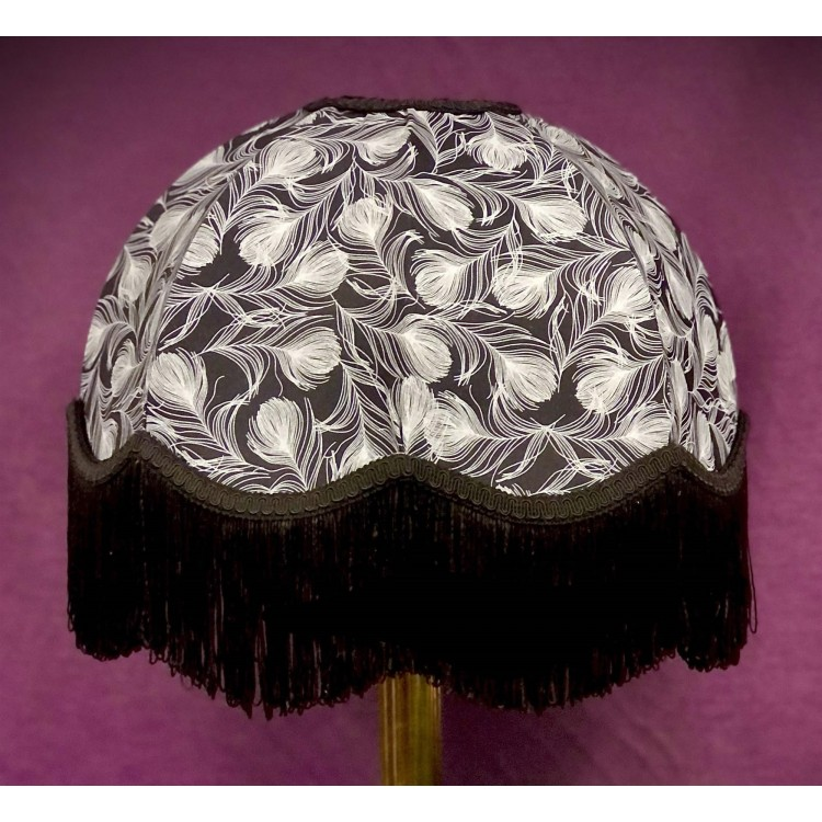 Grey Feather Print Dome Fabric Lampshades