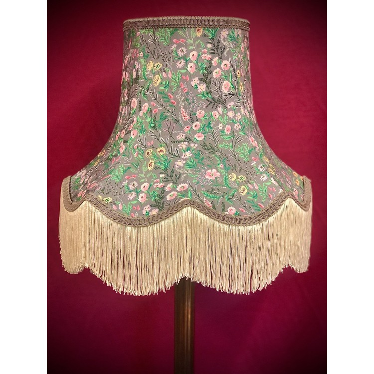 Grey and Cream Floral Fabric Lampshades