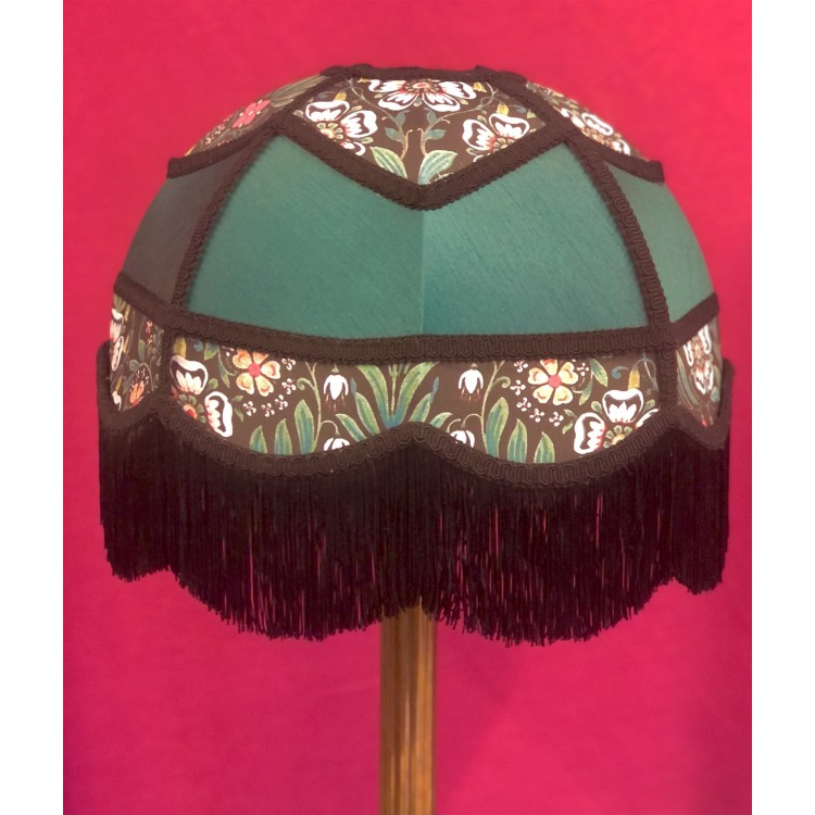 Holly Green and William Morris Black Panelled Fabric Lampshade