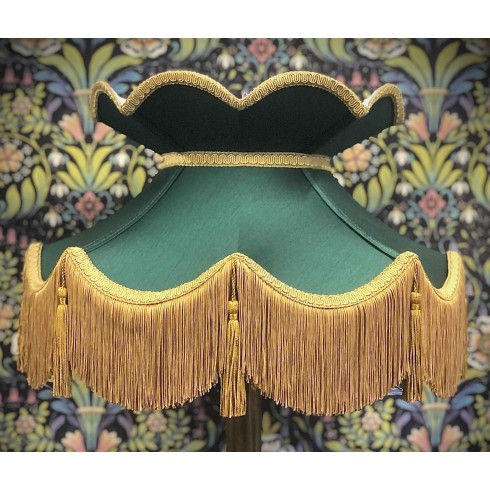 Holly Green and Gold Victorian Fabric Lampshades