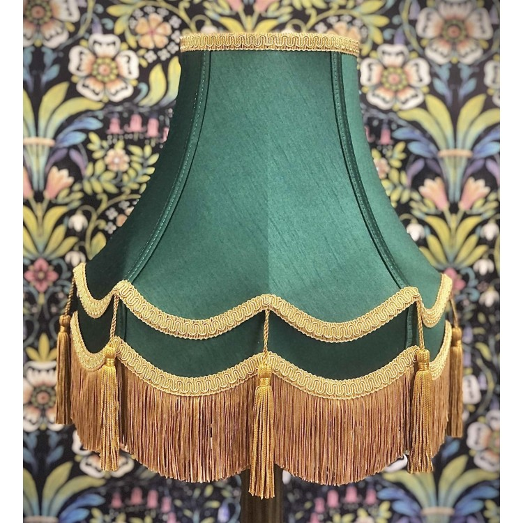 Holly Green and Gold Double Fabric Lampshades