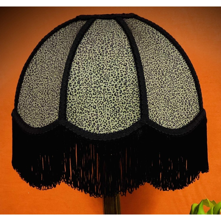 Khaki and Black Animal Print Dome Fabric Lampshades