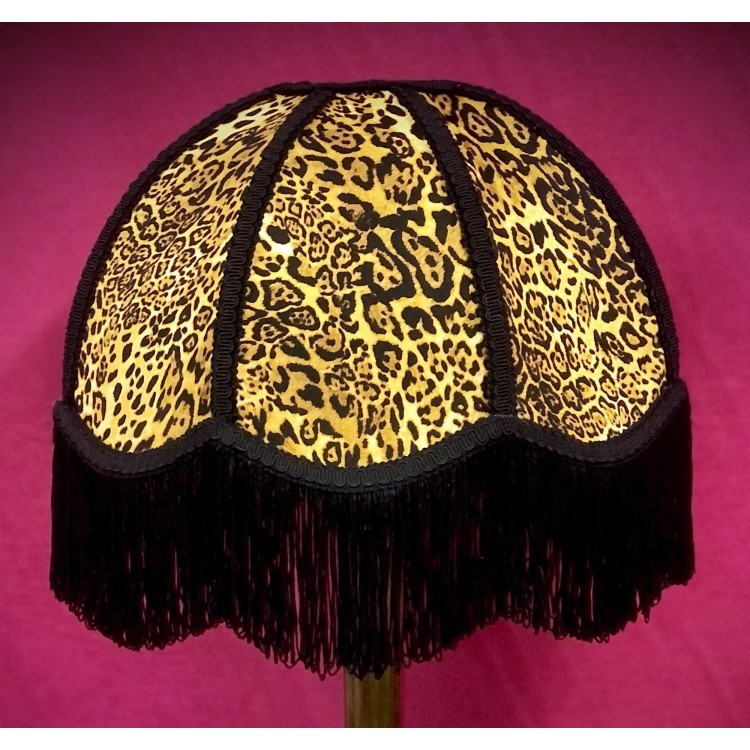 Leopard Animal Print and Black Dome Fabric Lampshades