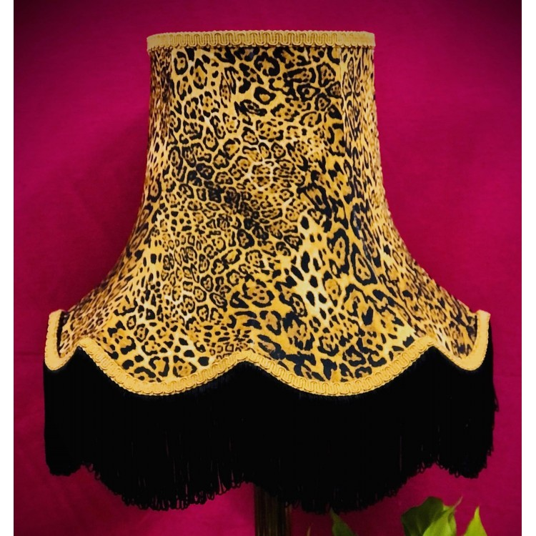 Leopard Animal Print and Gold Fabric Lampshades