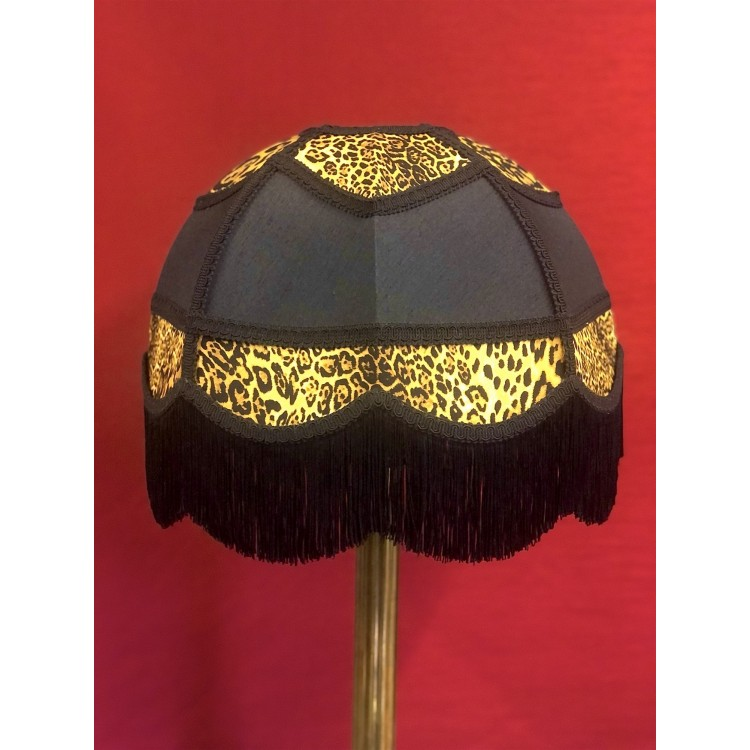 Black and Leopard Print Panelled Fabric Lampshade
