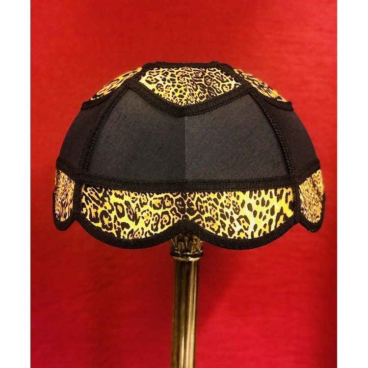 Black and Leopard Print Panelled Modern Fabric Lampshade