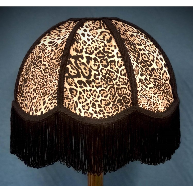 Lynx Animal Print and Black Dome Fabric Lampshades
