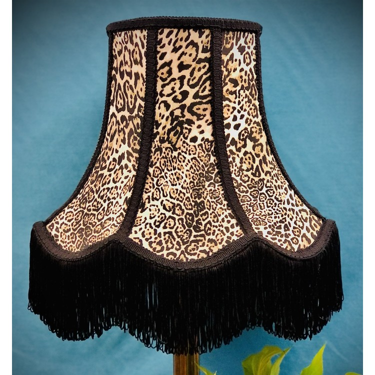 Lynx Animal Print and Black Fabric Lampshades