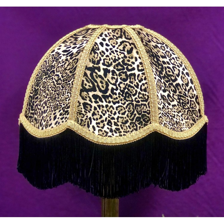 Lynx Animal Print and Gold Dome Fabric Lampshades