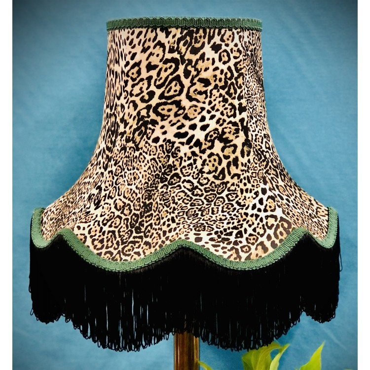 Lynx Animal Print and Green Fabric Lampshades