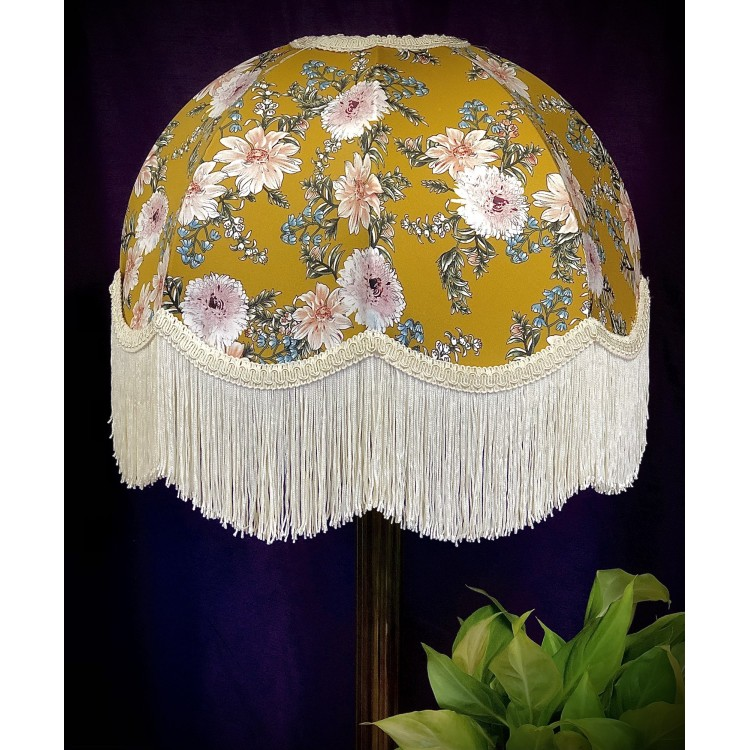 Mustard Floral Dome Fabric Lampshades