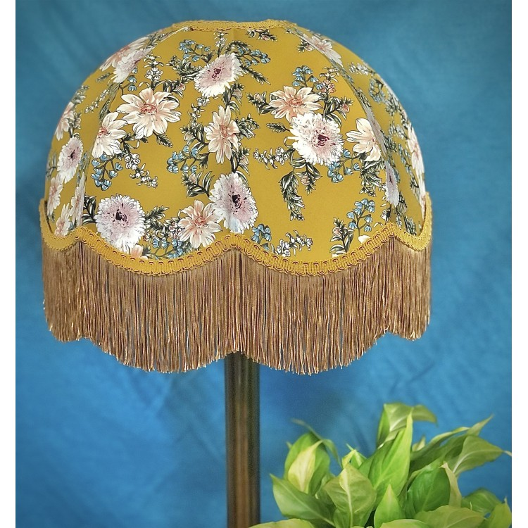 Mustard Floral Gold Dome Fabric Lampshades