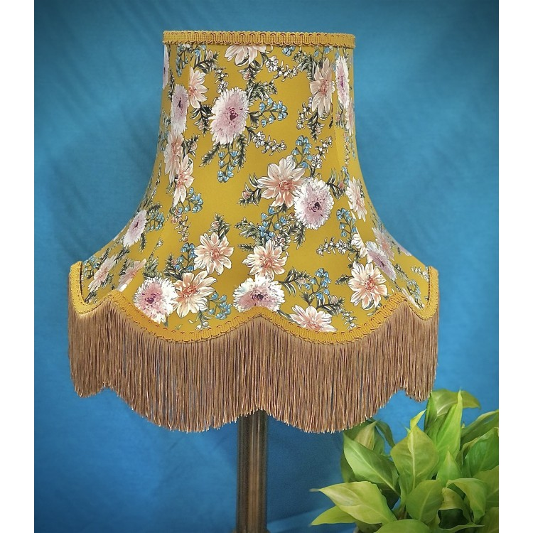 Mustard Floral Gold Fabric Lampshades