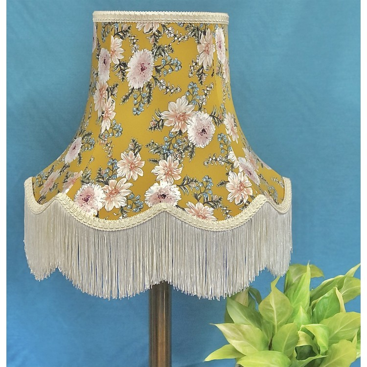 Mustard Floral Fabric Lampshades