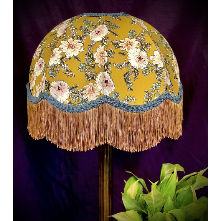 Mustard Floral Slate Gold Dome Fabric Lampshades