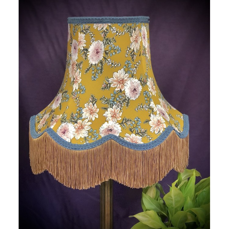 Mustard Floral Slate Gold Fabric Lampshades