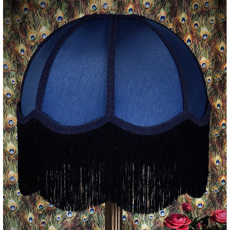 Navy Blue and Black Dome Fabric Lampshade